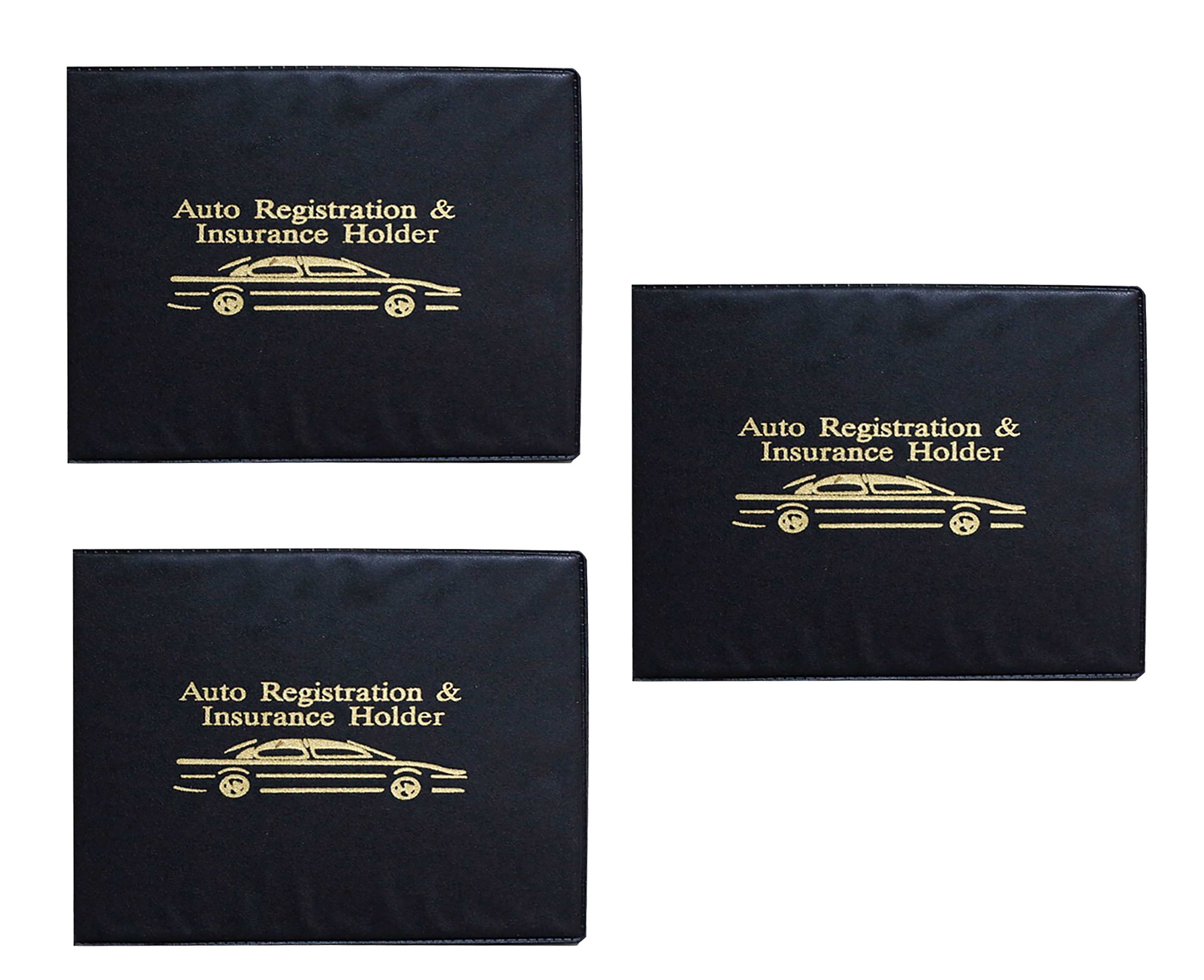 Blue Auto Insurance /& Registration Card Holder Car Essential Paperwork Holder for DMV AAA Vehicle Glove Box Document Organizer Premium PU Leather Wallet Case Contact Information Cards