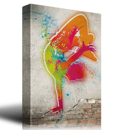 wall26 Colorful Hip Hop Dancer on a Brick Wall Background - Canvas Art Home Decor - 32x48