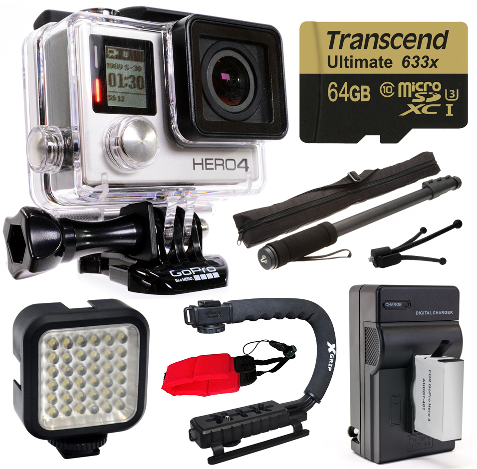 Buy GoPro Hero 4 HERO4 Black Edition 4K Action Camera Camcorder with 64GB MicroSD Card, Battery + Charger, Opteka X-Grip,... by GoPro