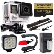 GoPro Hero 4 HERO4 Black Edition 4K Action Camera Camcorder with 64GB MicroSD Card, Battery + Charger, Opteka X-Grip, Selfie Stick, Night LED Video Light, Mini Tripod, Cleaning Kit