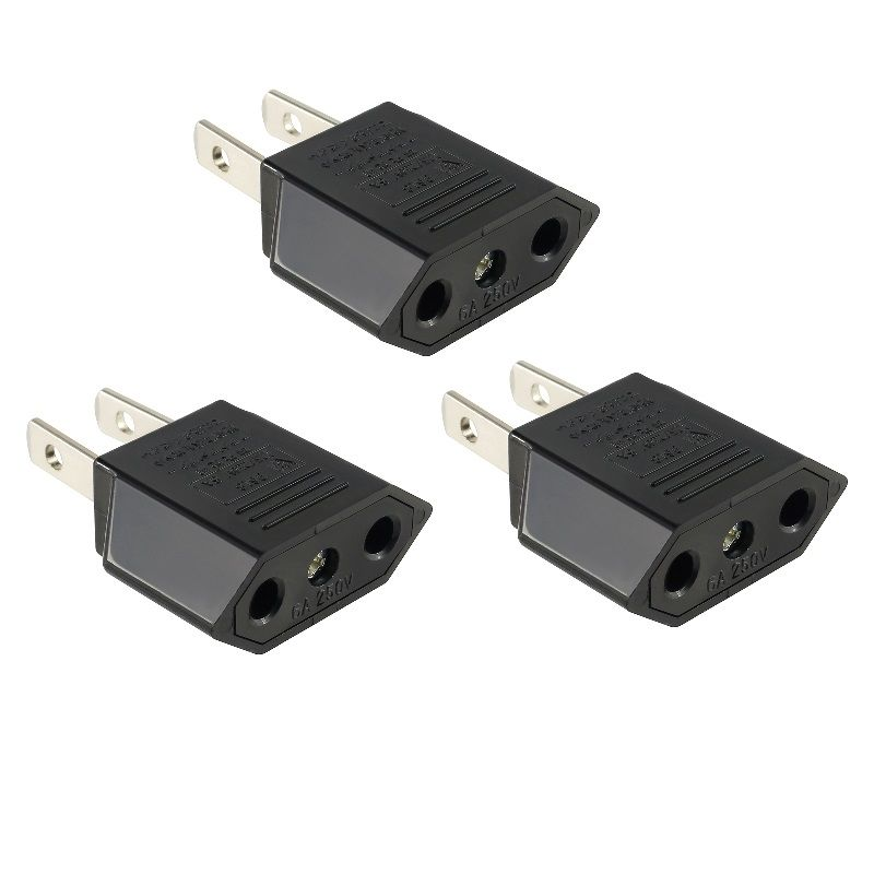 Insten 3X Euro EU to US USA Travel Power Adapter Converter Wall Plug