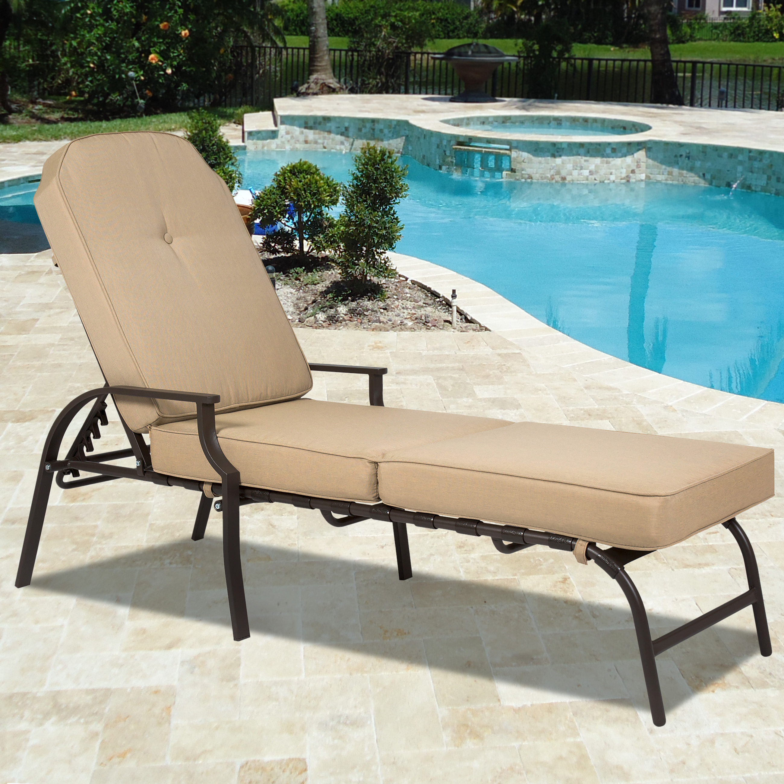 Superb Best Choice Products Outdoor Chaise Lounge Chair W/ Cushion Pool Patio  Furniture   Walmart.com