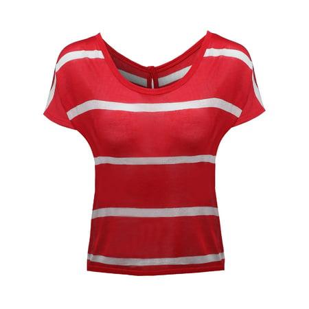 FashionOutfit Women's Stripe Batwing Sleeve Knit Button Tops Batwing Sleeve Knit Top