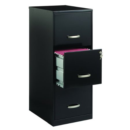 Contemporary Style Vertical 3 Drawer Black Steel File Cabinet (Steel Vintage Cabinet)