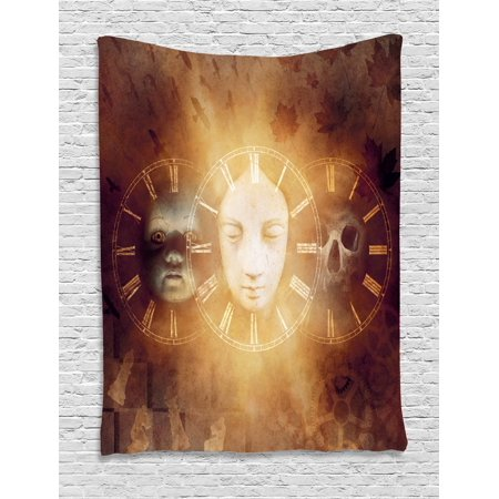 Psychedelic Tapestry, Gothic Spooky Birth Life Death Mask and Skull Baby Face Sacred Artwork Design, Wall Hanging for Bedroom Living Room Dorm Decor, Tan Yellow, by Ambesonne - Baby Gothic