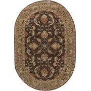 Hand-tufted Traditional Coliseum Chocolate Floral Border Wool Area Rug (8' x 10' Oval)
