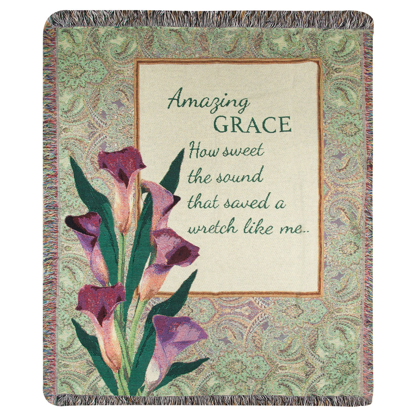Manual Woodworkers & Weavers Amazing Grace How Sound Tapestry Cotton Throw