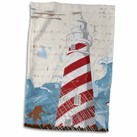 3drose A Red And White Lighthouse With A Sea Wave Towel 15 By 22 Inch