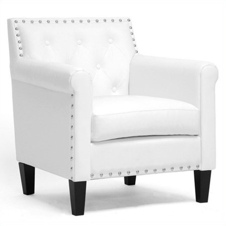 Thalassa Tufted Faux Leather Club Chair in White Eco Leather Club Chair