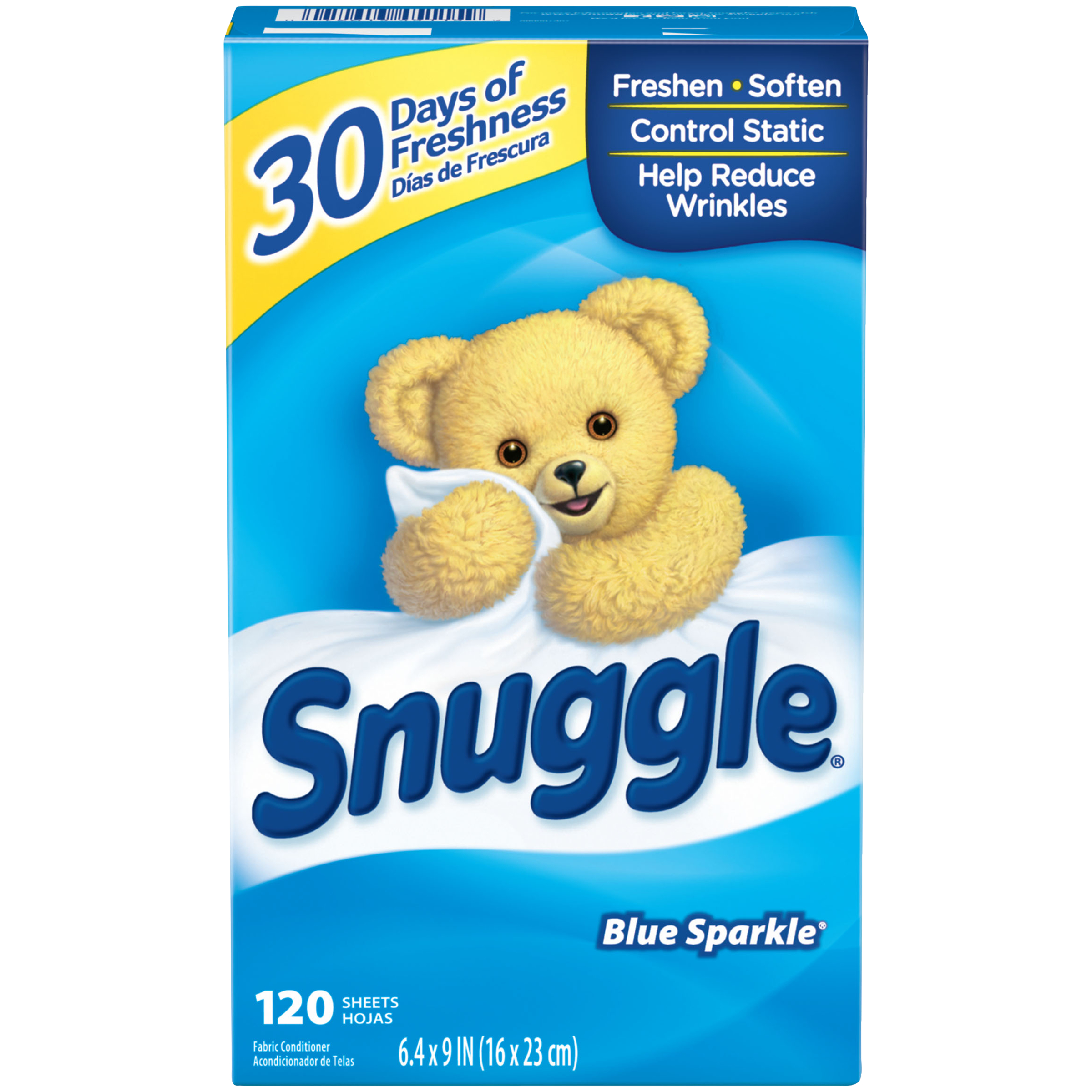 Snuggle Fabric Softener Sheets, Blue Sparkle, 120 Count