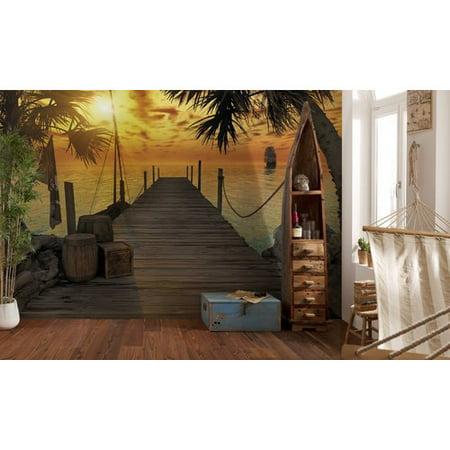 Brewster home fashions komar treasure island dock wall for Alabama wall mural