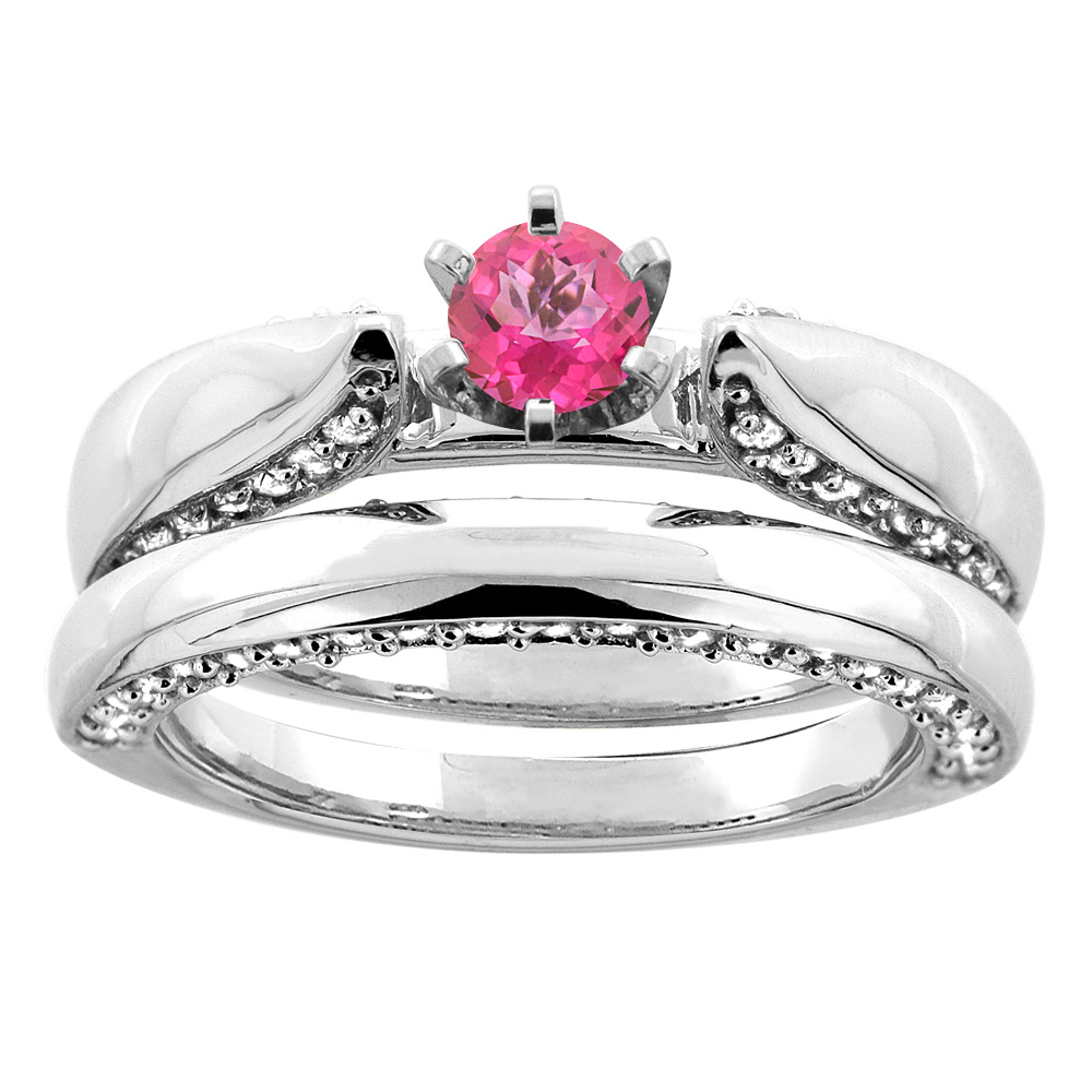 10K White Gold Natural Pink Topaz 2-piece Bridal Ring Set Diamond Accents Round 5mm, size 5.5 by Gabriella Gold