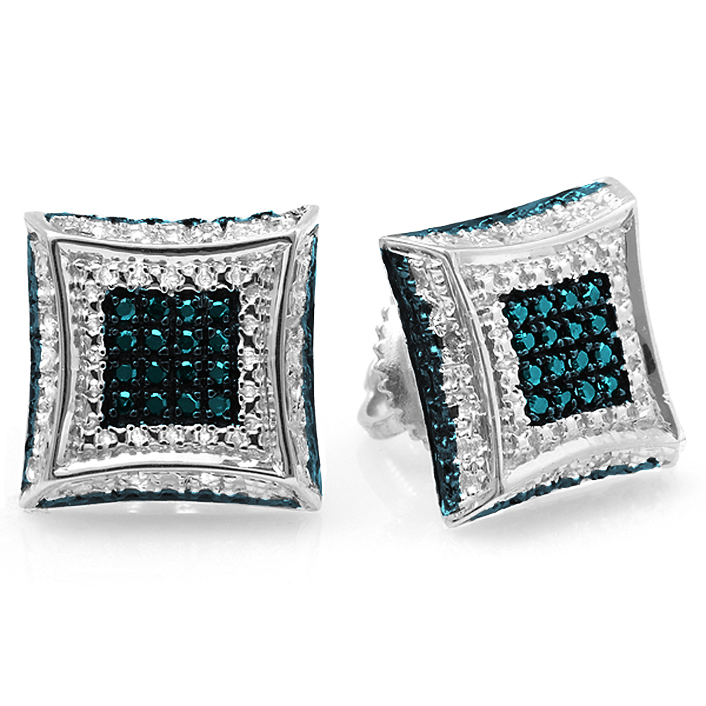 0.15 Carat (ctw) 14K White Gold Round Blue & White Diamond Micro Pave Setting Kite Shape Stud Earrings