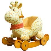 Child Rocking Horse Plush, Fawn Rocking Horse Stuffed, 2 in 1 Yellow Rocker with Wheel for Kid 6-36 Months, Wooden Rocking Horse/Rocker/Animal Ride/Deer Rocker for Boy&Girl