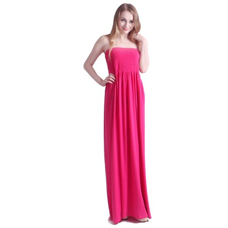 HDE Women's Strapless Maxi Dress Tube Top Long Skirt Sundress Cover Up (Around The World Dress Up)