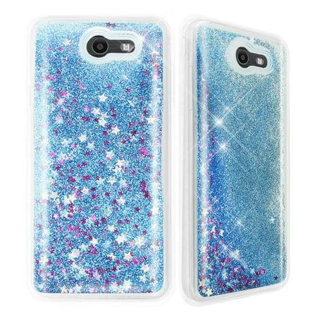 Galaxy J7 Sky Pro Case, Galaxy J7 Perx Case, Galaxy J7 V Case, TJS Creative Luxury Bling Glitter Sparkle Liquid Infused Glitter Stars Moving Quicksand For Samsung Galaxy J7 Sky Pro/J7 V/J7 Perx (Blue)