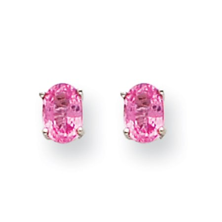 14k White Gold Pink Shire Earrings