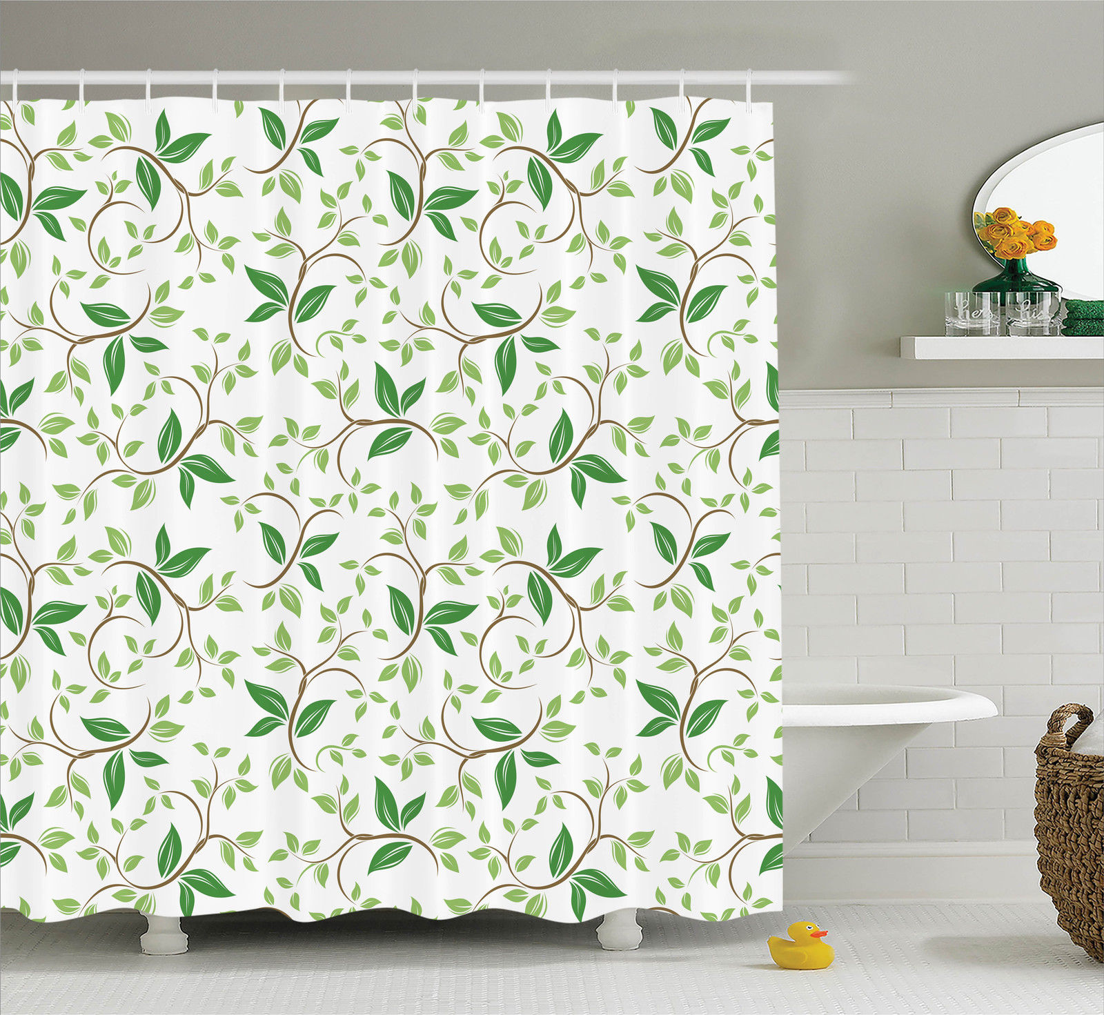 Leaves Decor  Ivy Patterns With Tiny Fancy Green Leaves Branches Creme Contemporary Illustration, Bathroom Accessories, 69W X 84L Inches Extra Long, By Ambesonne