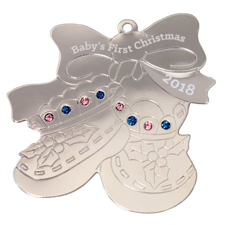Silvertone Baby Booties - Baby Handprint Ornament