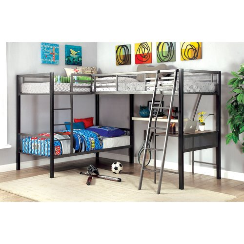 Zoomie Kids Hank Twin Triple L Shaped Bunk Bed With Desk Walmart Com