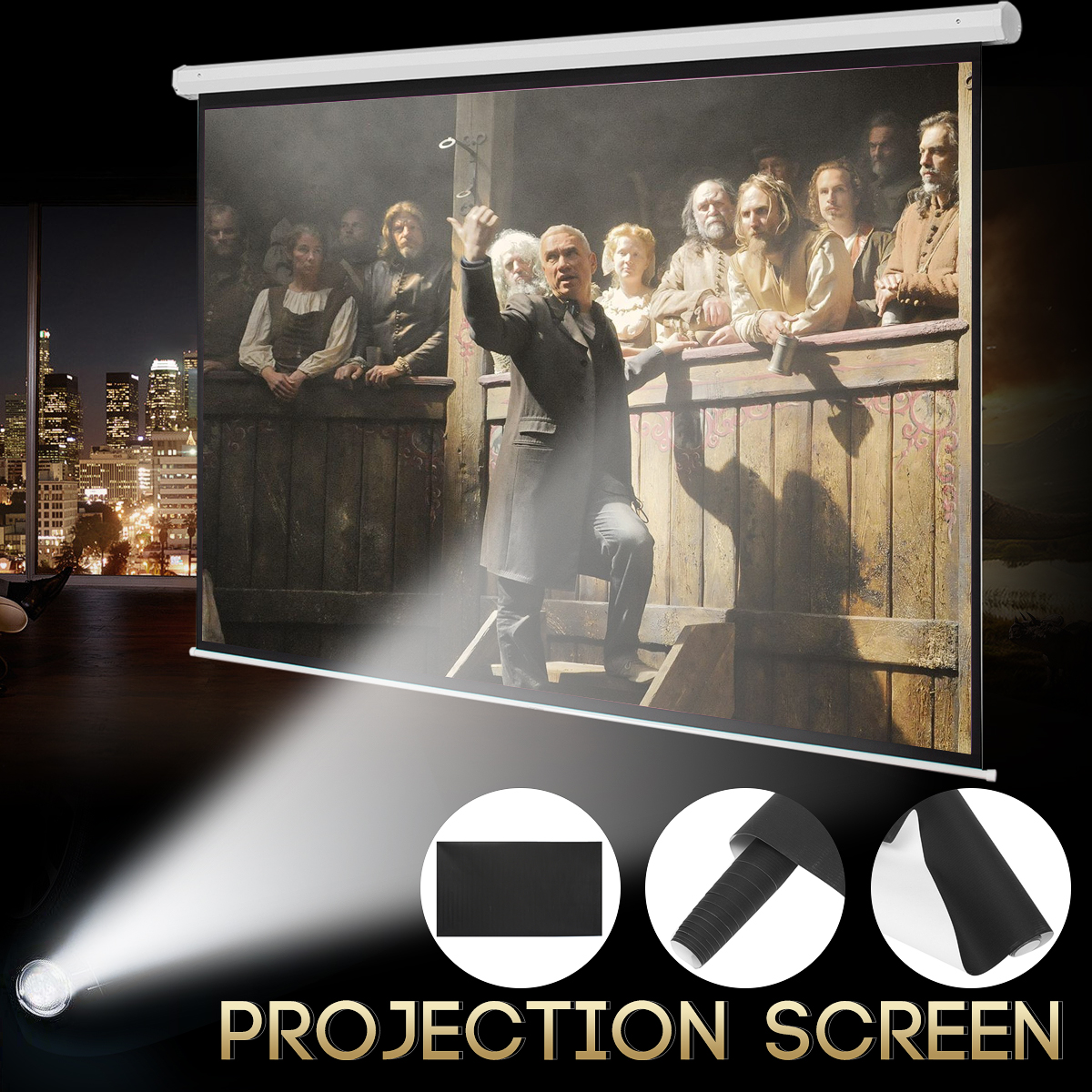 100'' 16:9 Manual Projector Screen White HD Screen Movie Home TV Cinema Projection