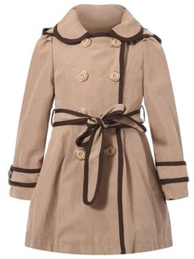 Richie House Little Girls Apricot Brown Trim Flared Top Coat 7