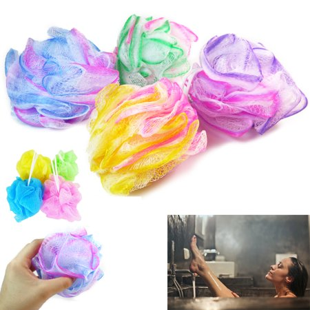 4 Bath Shower Puff Sponge Loofah Mesh Ball Brush Body Scrubber Exfoliate Massage - Loofah Bath Sponge