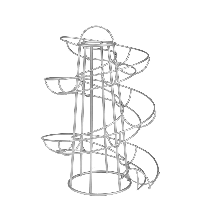 narratorbook Spiral Egg Holder Countertop Egg Dispenser Skelter Metal Egg Spiraling Dispenser Rack Egg Storage Organizer Display Holder Basket for Countertop Kitchen Save Space Black