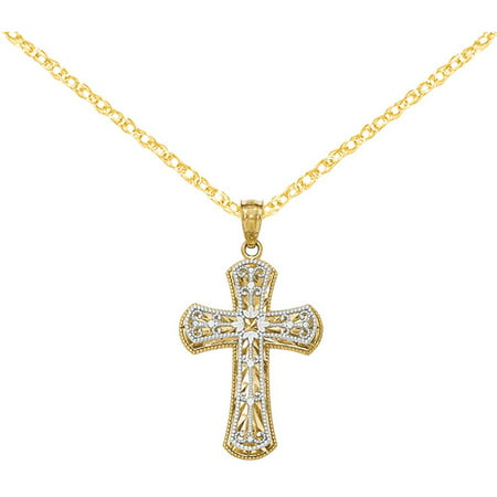 14kt Yellow/White Gold Polished 2-Level Cross (Design Polished Cross Pendant)