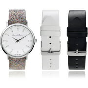 Journee Collection Women's Rhinestone Interchangeable Leather Strap Fashion Watch, Silver