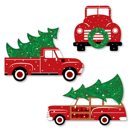 Merry Little Christmas Tree - Shaped Red Truck and Car Christmas Party Cut-Outs - 24 Count ()