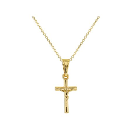 In Season Jewelry 18k Gold Plated Small Jesus Crucifix Cross Pendant Catholic Necklace 16