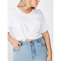 COTTON ON Curve Relaxed V-Neck T-Shirt