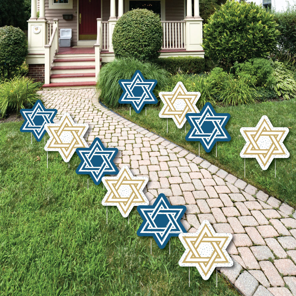 Hanukkah - Star of David Lawn Decorations - Outdoor Chanukah Yard Decorations - 10 Piece