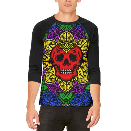 Halloween Demon Skull Mandala Mens Raglan T Shirt - Coloriage Mandalas Halloween