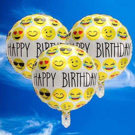 3Pcs 18 Happy Birthday Emoji Mylar Balloons Smiley Faces Emotions Party Decor