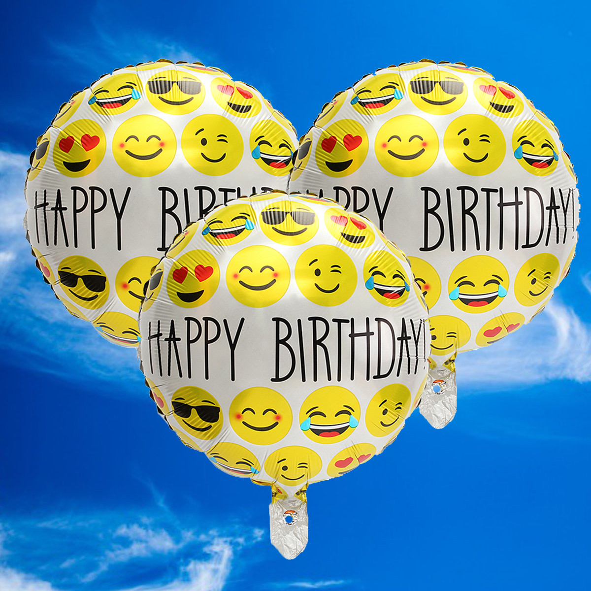 3Pcs 18'' Happy Birthday Emoji Mylar Balloons Smiley Faces Emotions Party Decor