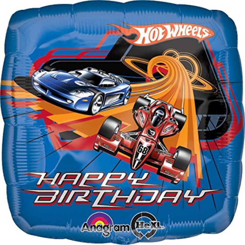 "Anagram International Hot Wheels Racing Birthday Foil Balloon Pack, 18"", Multicolor"