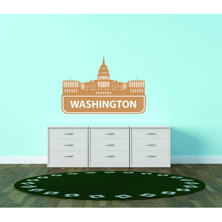 Custom City Wall Map - Custom Wall Decal Washington Dc United States Major City Geographical Map Landmark - Vinyl Wall - 12x20