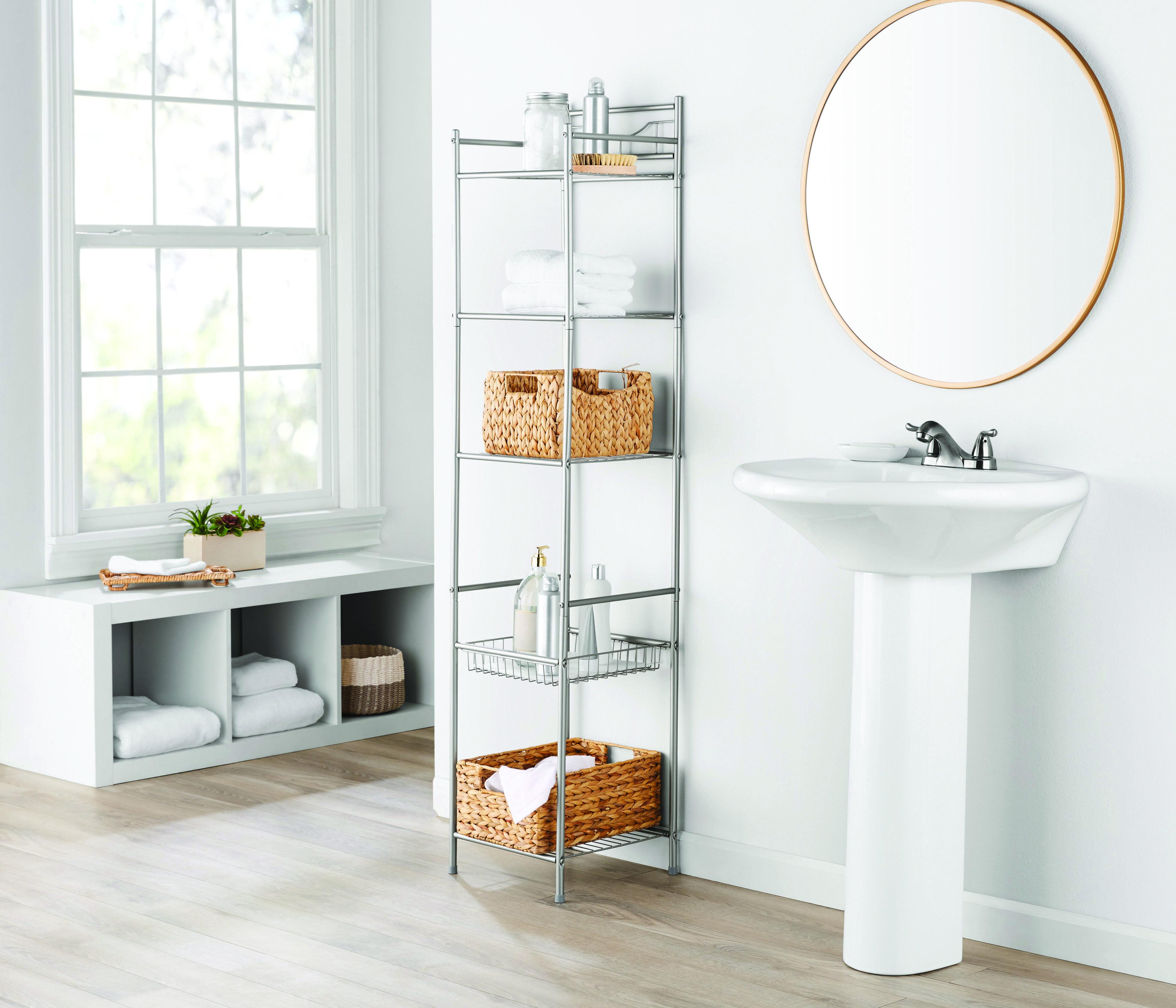 Mainstays 5 Shelf Bathroom Storage Tower With Liner Satin Nickel Walmart Com Walmart Com