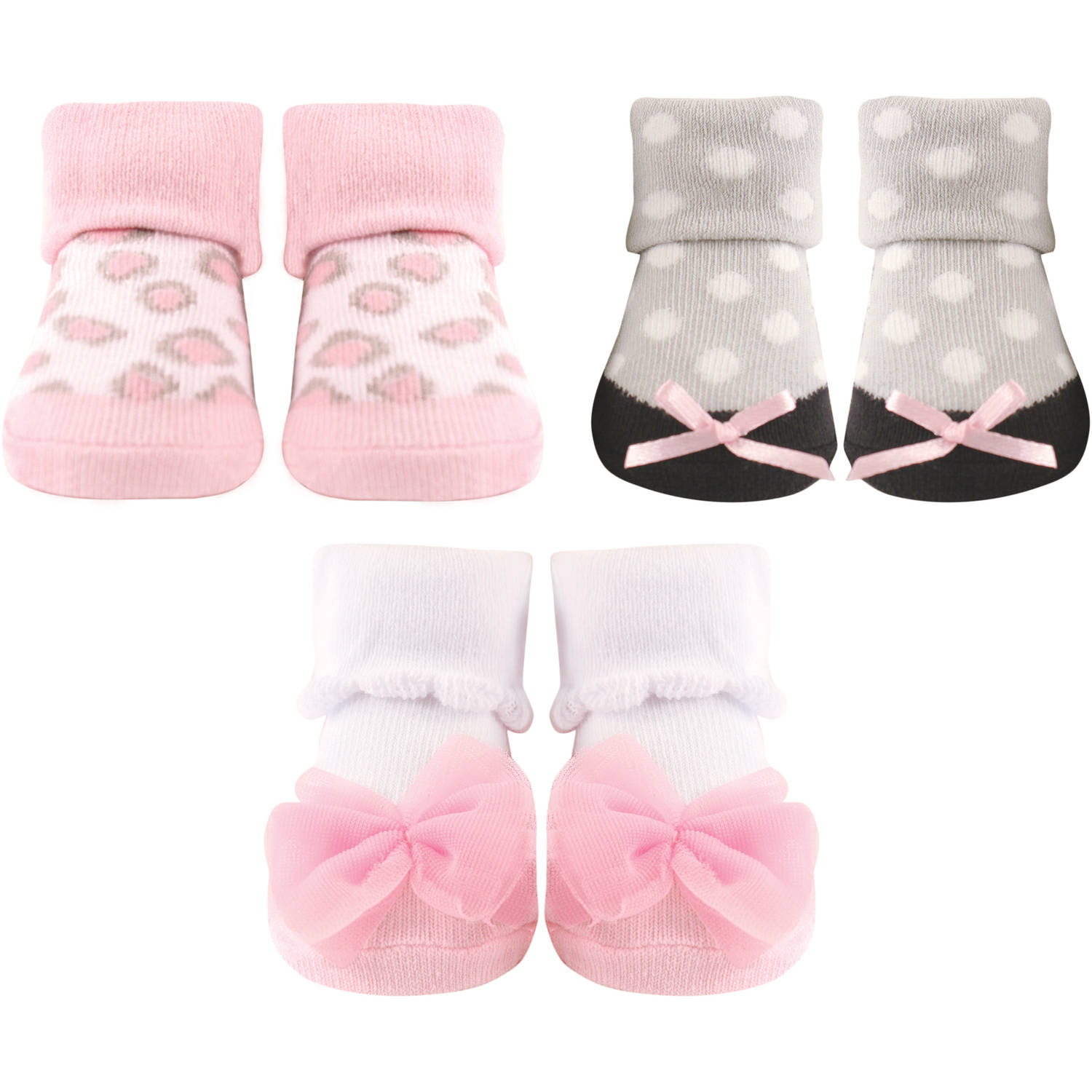 Luvable Friends Newborn Baby Girl Decorated Socks Giftset 3-Piece