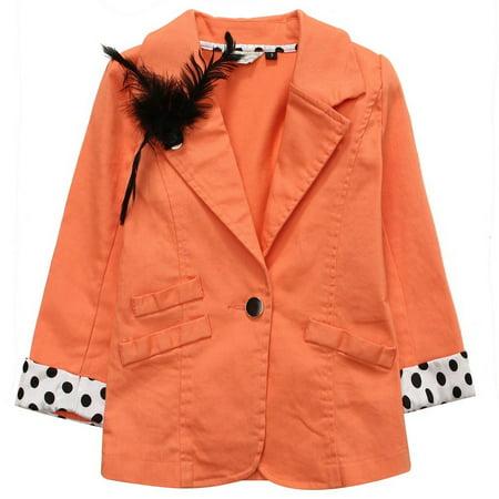 Richie House Little Girls Orange Black Polka Dot Cuffs Lapel Clip Jacket 6