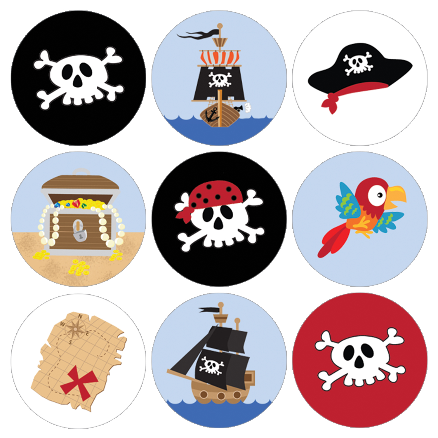 Pirate Party Favor Stickers | 216 count | Birthday Decoration Candy Labels