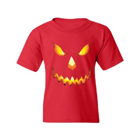 Jack O Lantern Face Youth T-shirt Funny Halloween 2017 Tee Red YOUTH Medium (Proud Halloween 2017)