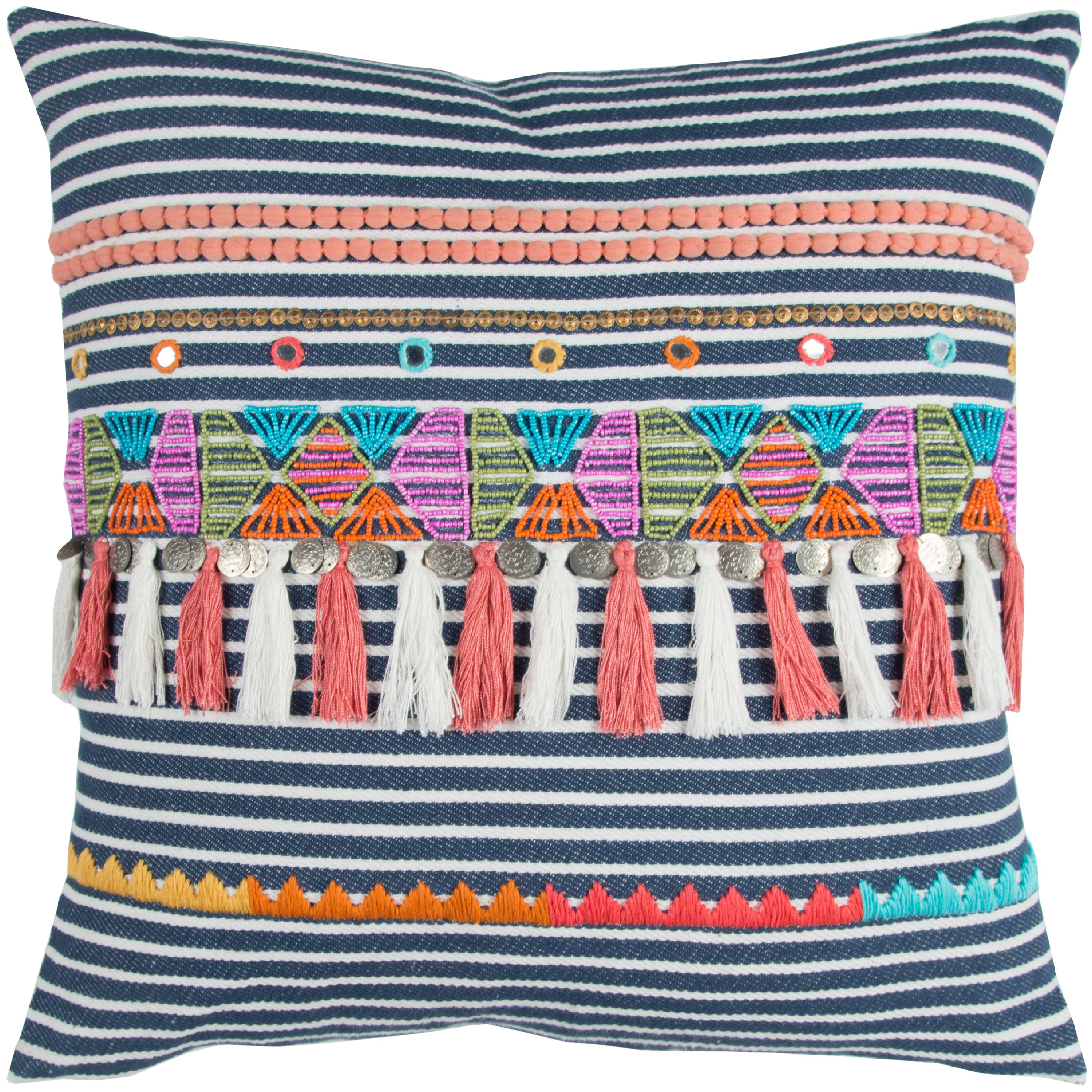 "Rizzy Home Decorative Poly Filled Throw Pillow Stripe 20""X20"" Navy"