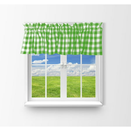 cotton gingham checkered window valance 58 wide lime green
