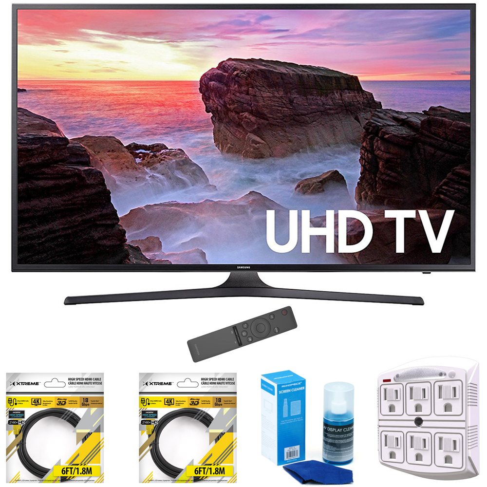 "Samsung 65"" 4K Ultra HD Smart LED TV 2017 Model (UN65MU6300) with 2x 6ft High Speed HDMI Cable, Screen Cleaner for LED TVs & Stanley 6-Outlet Surge Adapter with Night Light"