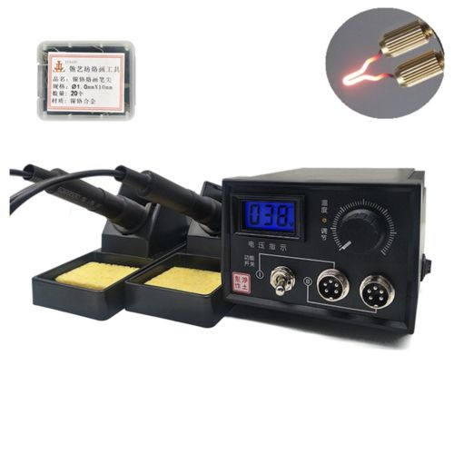 60W 110V Digital Display Pyrography Machine Wood Burning Kit Pyrography Craft Tool Set with 20pcs Pyrography Wire Tips Dual Pens