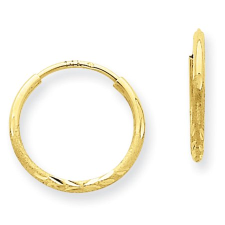 14k Gold Rope Hoop Earrings (14kt Yellow Gold 1.25mm Diamond-Cut Endless Hoop)