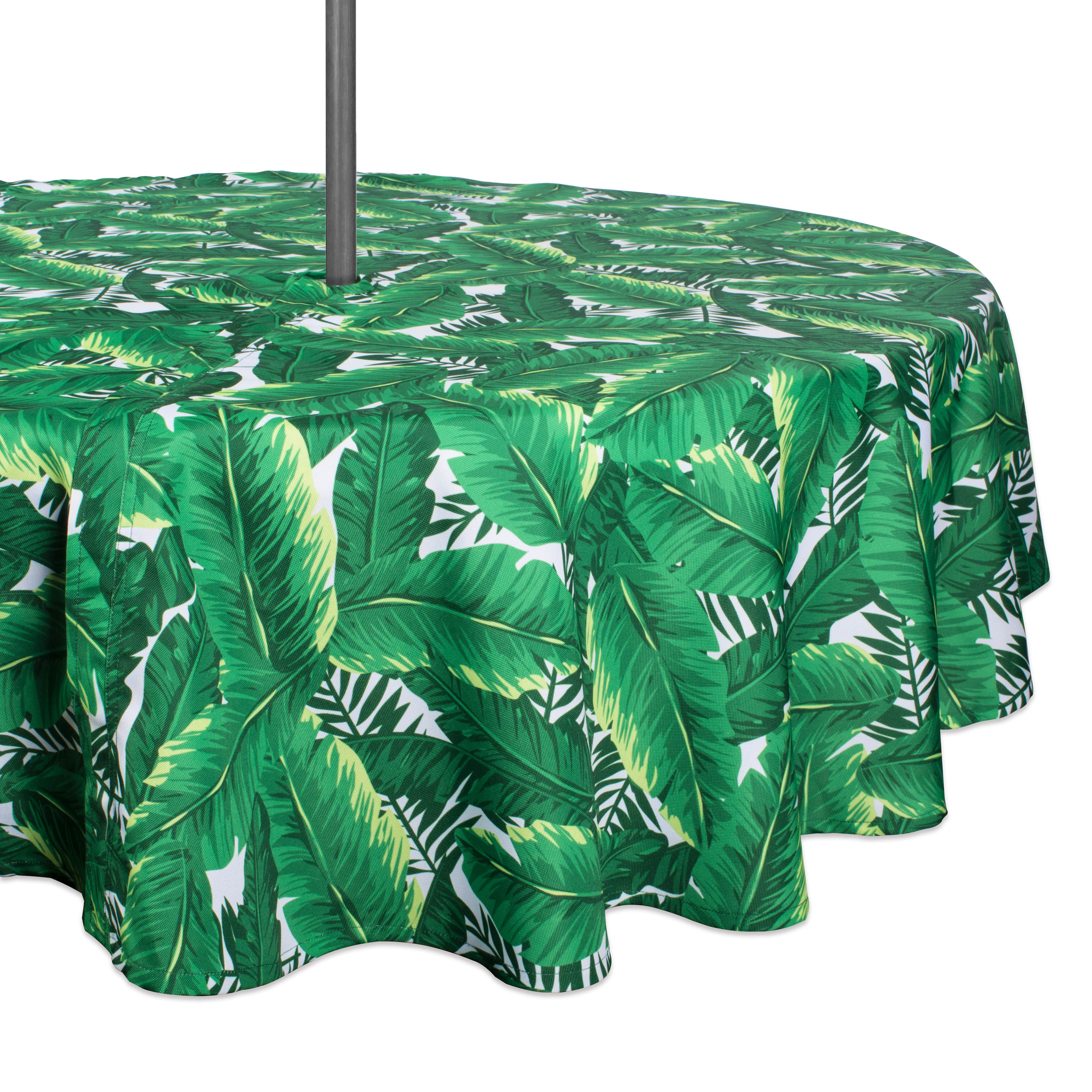"Design Imports Casual Round Banana Leaf Umbrella Outdoor Tablecloth, 60"" x 60"", 100% Polyester, Green"